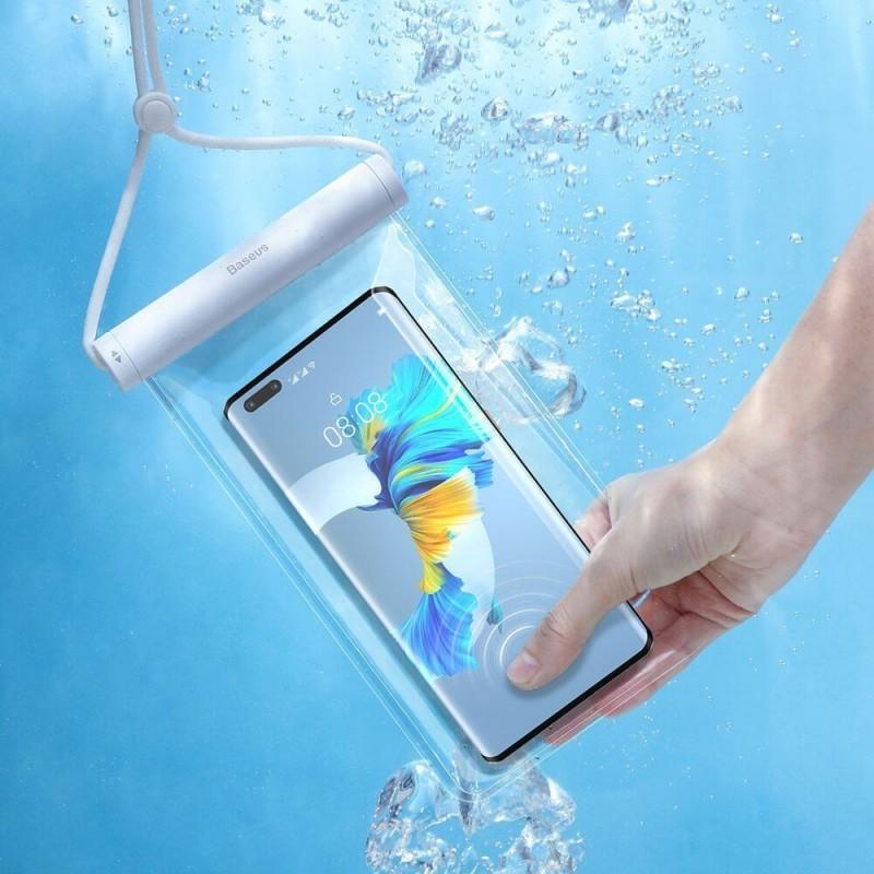 """Baseus átlátszó univerzális vízálló tok okostelefonhoz - Fehér 7,2""""-ig - Fehér"""