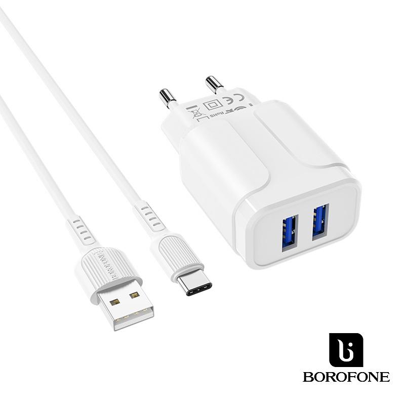 Borofone Speedy 2USB hálózati töltő 2,4A USB-C kábellel BA37A - Fehér