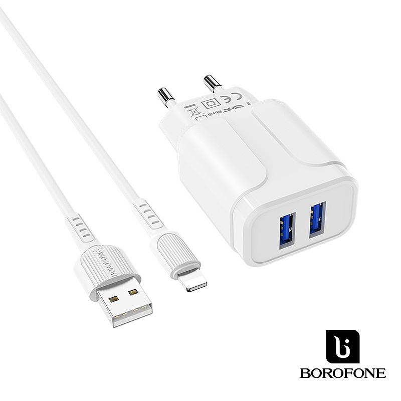 Borofone Speedy 2USB hálózati töltő 2,4A Lightning kábellel BA37A - Fehér