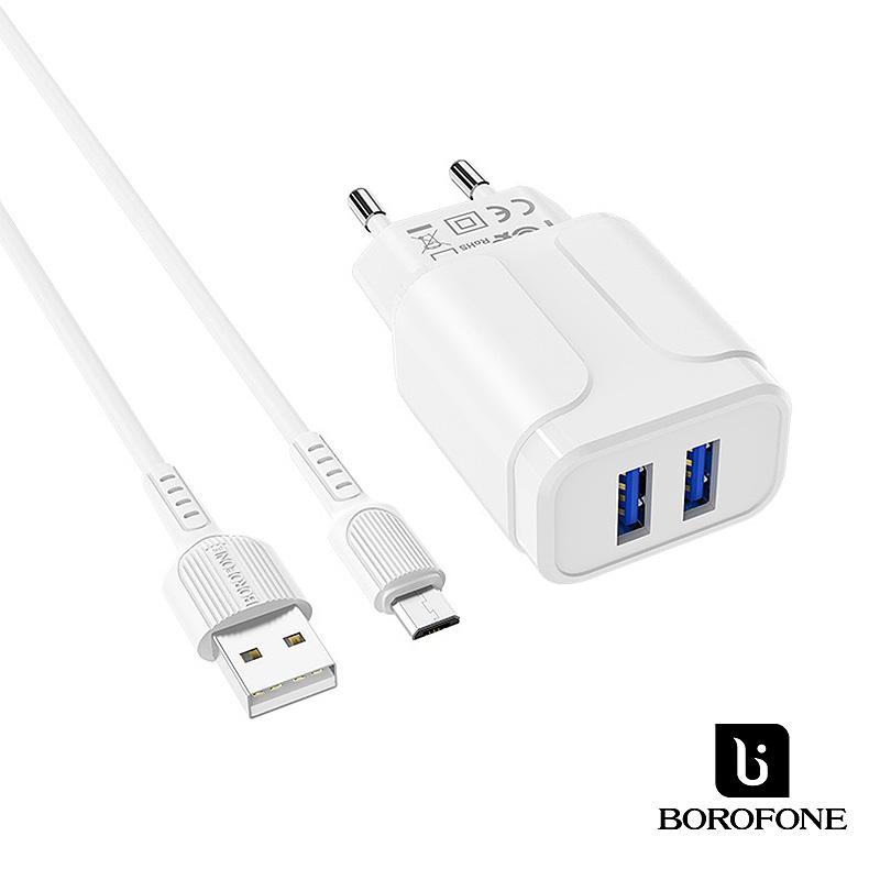 Borofone Speedy 2USB hálózati töltő 2,4A MicroUsb kábellel BA37A - Fehér