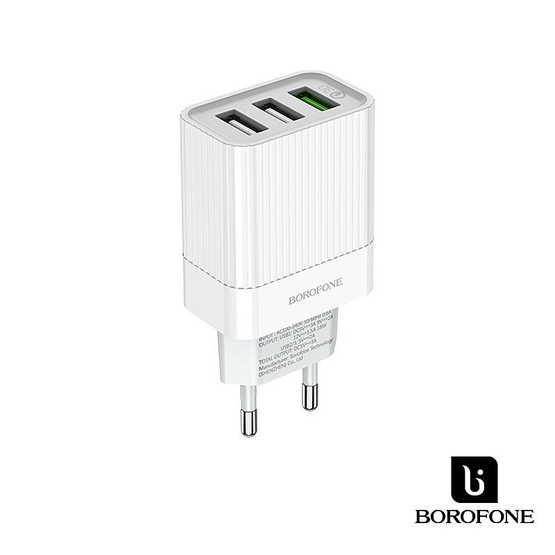 Borofone Speddway 3USB QC3.0 hálózati gyorstöltő 18W BA40A - Fehér