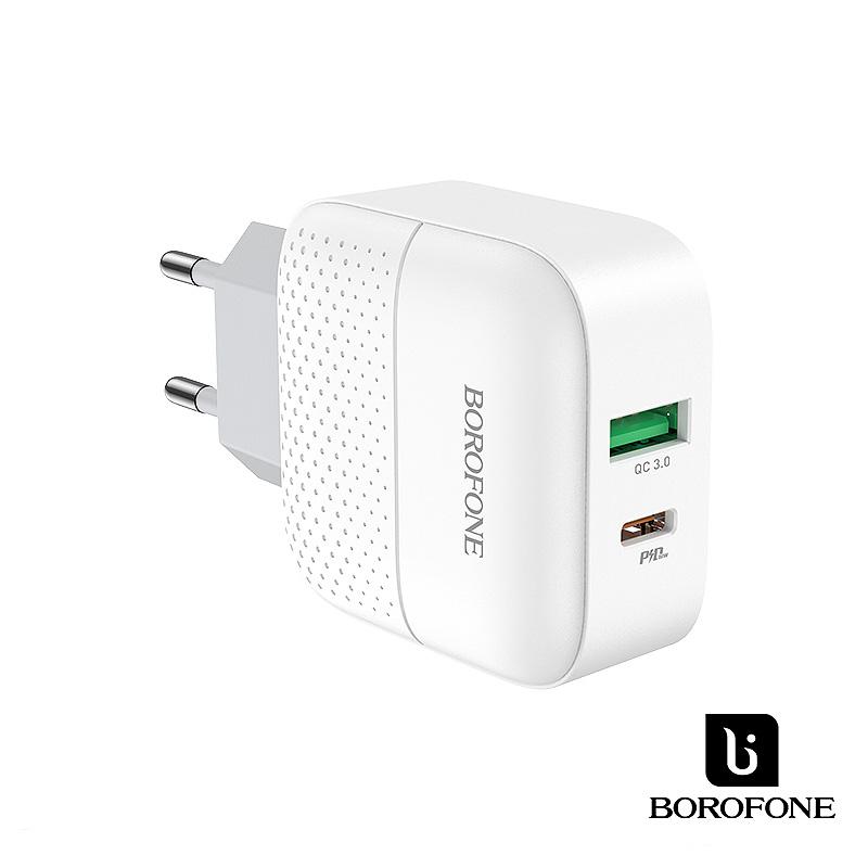 Borofone Premium USB QC3.0/USB-C PD 18W hálózati gyorstöltő BA46A - Fehér