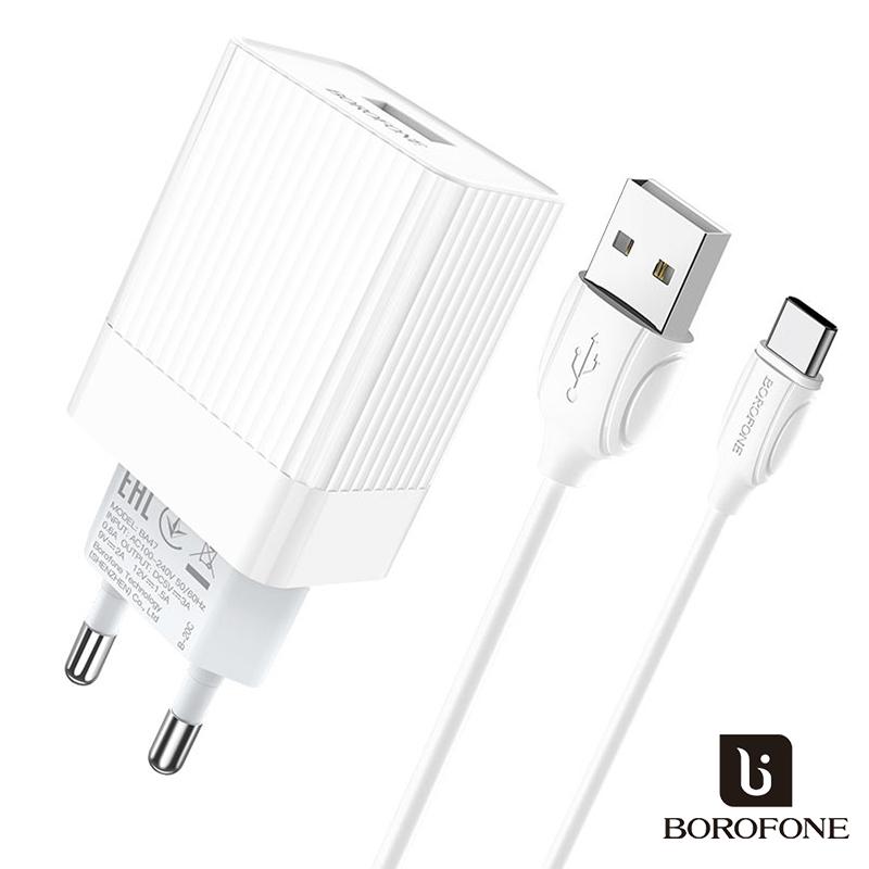 Borofone 1USB hálózati QC3.0 gyorstöltő 3A + USB-C kábellel Mighty BA47A - Fehér