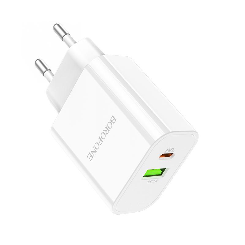 Borofone USB QC3.0 / USB-C PD20W hálózati gyors töltő Crown BA55A - Fehér