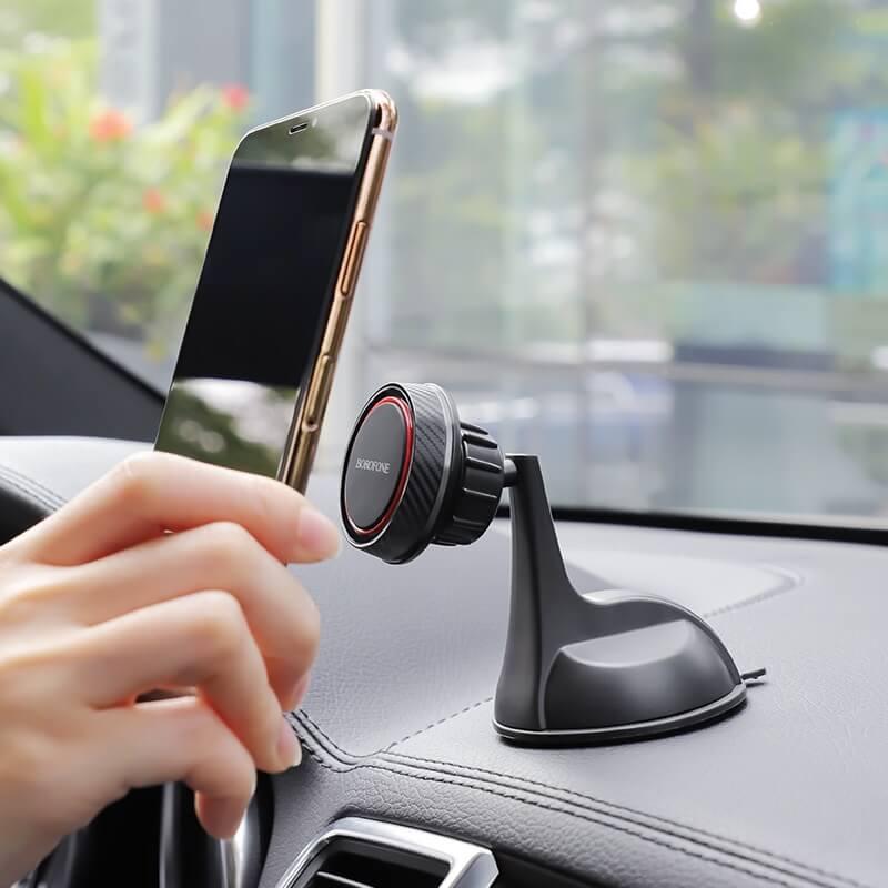 Borofone mágneses autós telefontartó szélvédőre/műszerfalra Journey BH14 - Fekete/Piros