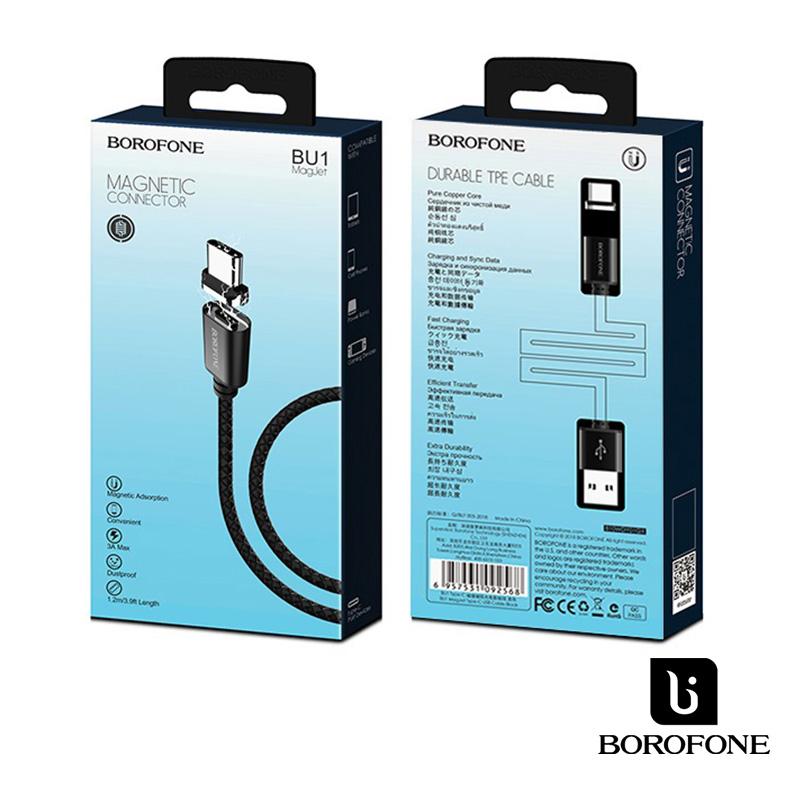 Borofone MagJet USB-C mágneses adat/töltőkábel 1,2m 3A - Fekete