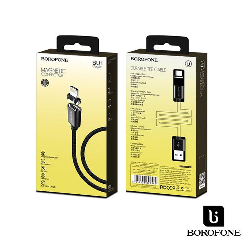 Borofone MagJet Lightning mágneses adat/töltőkábel 1,2m 3A - Fekete