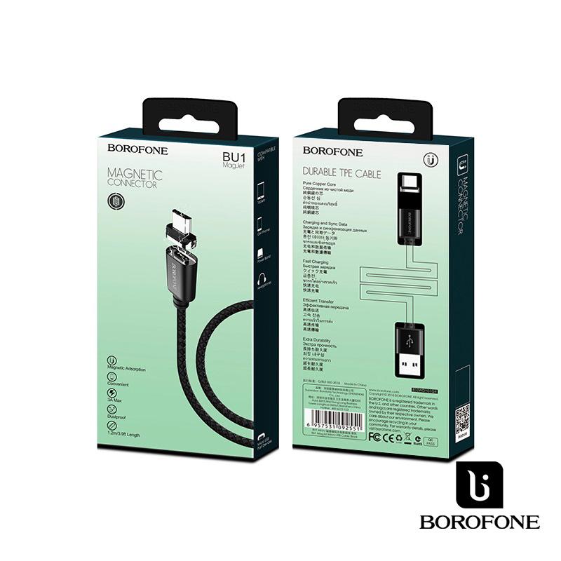 Borofone MagJet MicroUsb mágneses adat/töltőkábel 1,2m 3A - Fekete