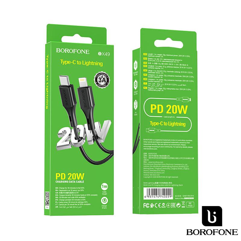 Borofone Cool PD 20W USB-C/ Lightning gyors töltőkábel 1m, 3A BX49 - Fekete