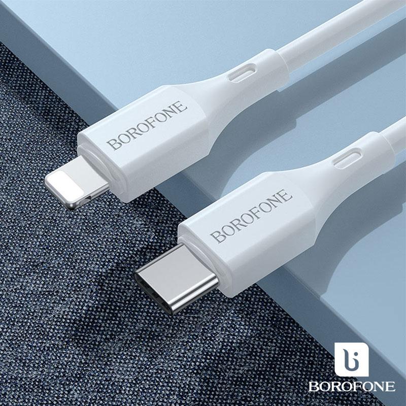 Borofone Cool PD 20W USB-C/Lightning gyors töltőkábel 1m, 3A BX49 - Fehér