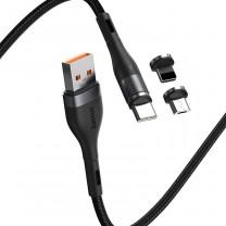 Baseus mágneses adat/töltőkábel, töltőfej szettel 3A 1m Zinc - Szürke/Fekete