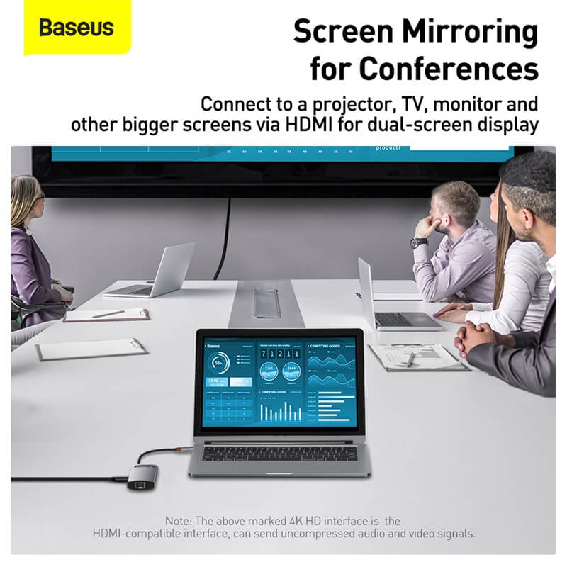 Baseus 6in1 Multifunkcionális USB-C HUB - 3x USB 3.0 + HDMI + USB-C PD + RJ45 Metal Gleam