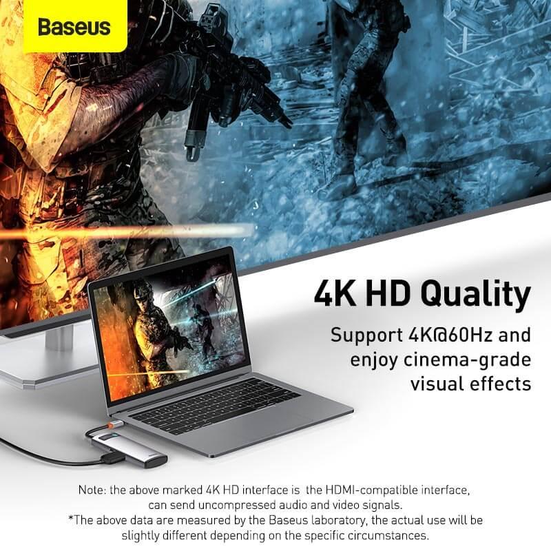 Baseus 5in1 Multifunkcionális USB-C HUB - 3x USB 3.0 + HDMI + USB-C PD Metal Gleam