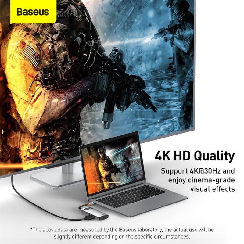Baseus 4in1 Multifunkcionális USB-C HUB - USB 3.0 + USB 2.0 + HDMI + USB-C PD Metal Gleam