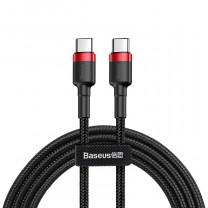 Baseus USB-C/C-típusú PD 2.0 60W töltő kábel 1m - Fekete/Piros