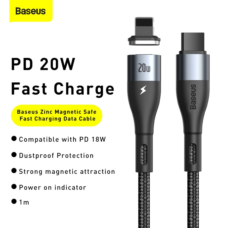 Baseus Zinc mágneses adat -és gyorstöltő kábel Type-C/Lightning PD 20W 1m -Fekete