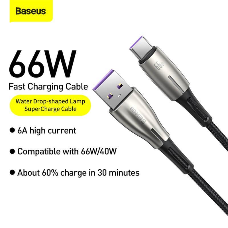 Baseus Water Drop USB-C adat / töltőkábel 66W 6A 1m - Fekete