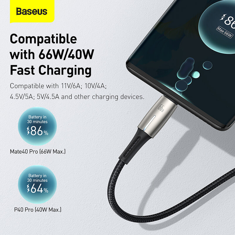 Baseus Water Drop USB-C at/töltőkábel 66W 6A 2m - Fekete