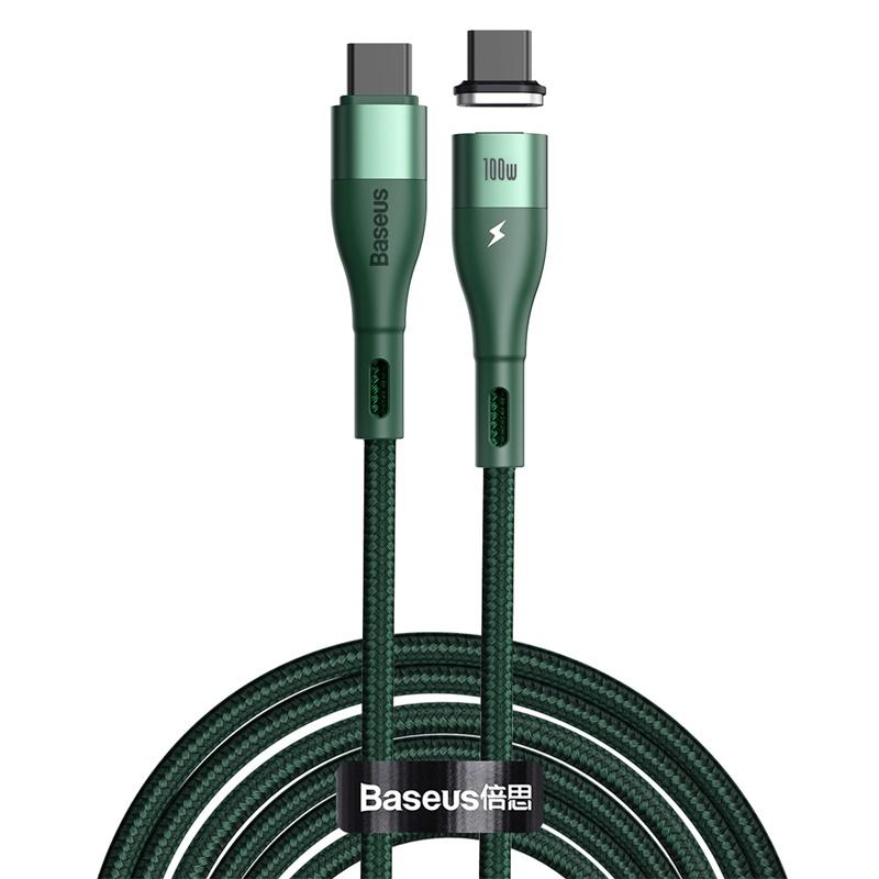 BaseusZinc mágneses adat/töltőkábel Type-C / Type-C 100W 1,5m - Zöld