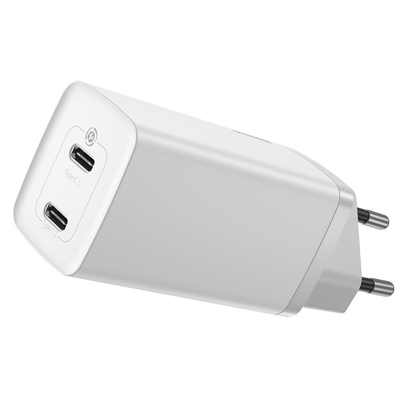 Baseus Gan2 Lite hálózati gyorstöltő 2 USB-C 65W - Fehér