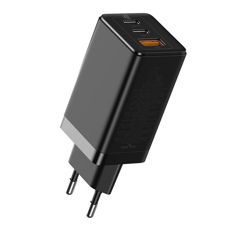 Baseus Gan2 Pro hálózati gyorstöltő USB-C + USB-C + USB-A 65W + USB-C / C 100W/5A 1m kábel - Fekete