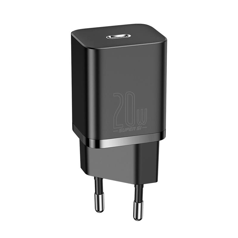 Baseus Super Si USB-C hálózati gyorstöltő 20W - Fekete