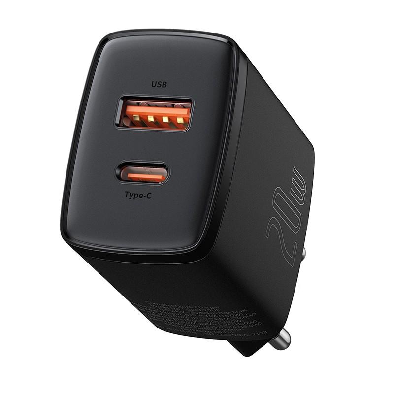 Baseus Compact hálózati töltő USB Type-C / USB-A 20W 3A QC3.0 - Fekete