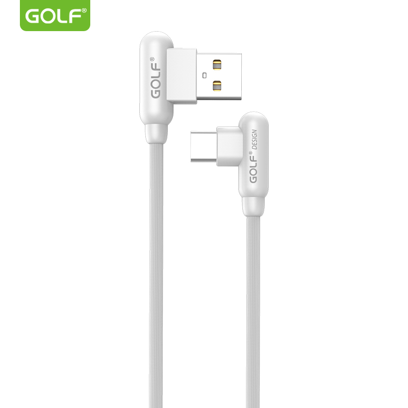 GOLF USB-C adat/töltőkábel 90°-os fejekkel 'GC-45' - Fehér