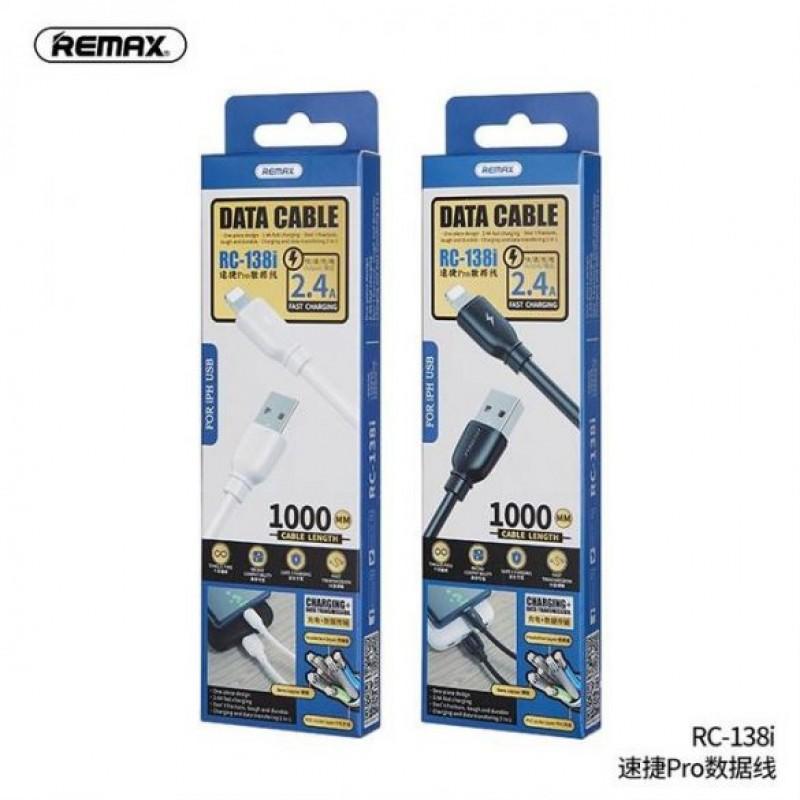 Remax Suji Pro Lightning adat/töltőkábel 1m 2,4A - Fekete