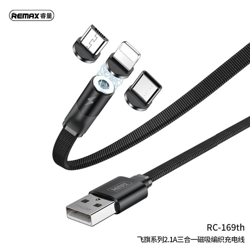 Remax Flag töltőkábel mágneses csatlakozó fej szettel (USB-C, Lightning, MicroUSB) 1m 2,1A RC-169th - Fekete
