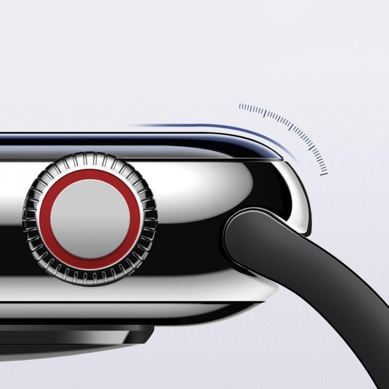 Baseus 40mm Apple Watch 4-es 0,2mm vastag teljes képernyős üvegfólia - Fekete