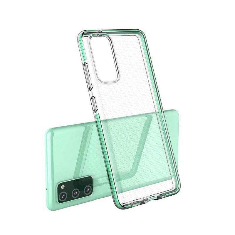 Samsung Galaxy S21/S30 Plus 5G gél tok színes kerettel - Átlátszó/Fekete