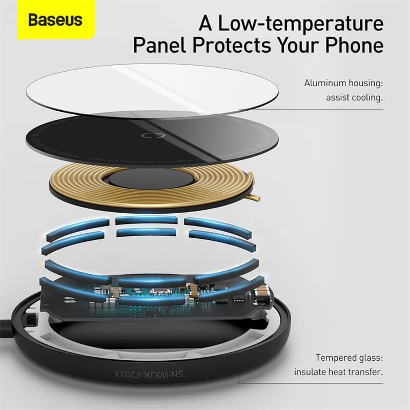 Baseus MagSafe mágneses vezeték nélküli Qi töltő 15W iPhone 12 szériához Simple Mini - Fekete