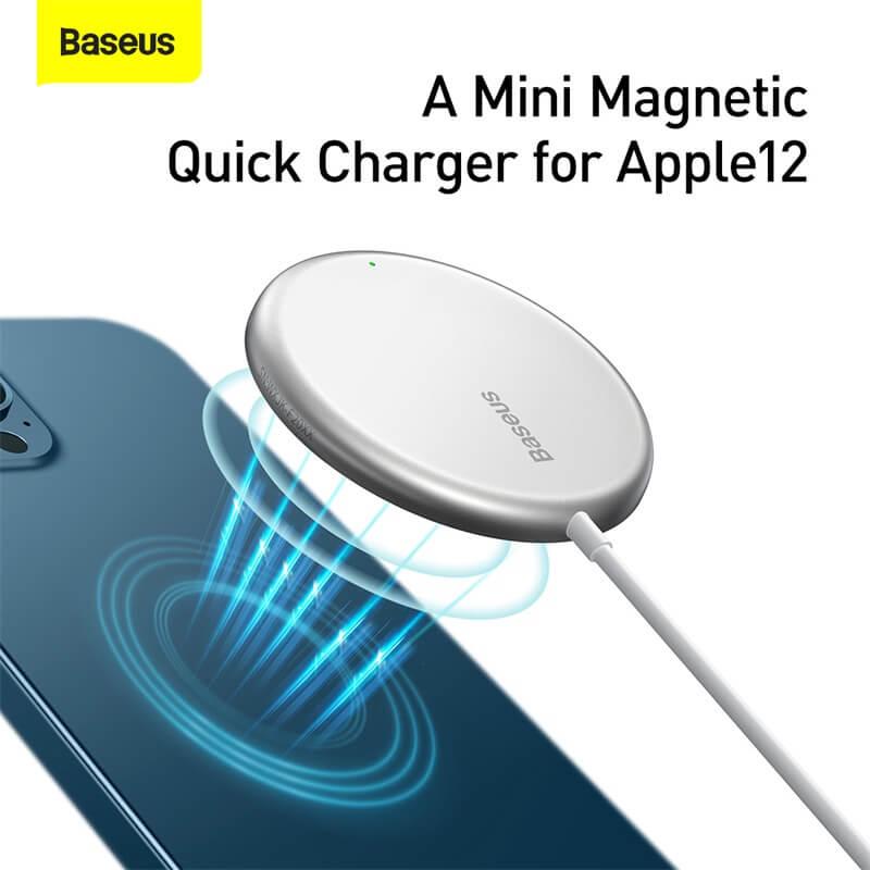 Baseus MagSafe mágneses vezeték nélküli Qi töltő 15W iPhone 12 szériához Simple Mini - Fehér
