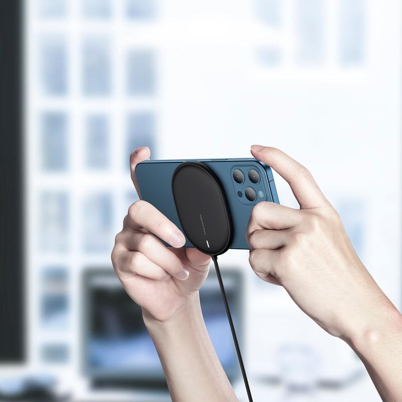Baseus Light Magnetic vezeték nélküli töltő (iPhone 12 modellhez) + Type-C kábel 1.5m - Fekete
