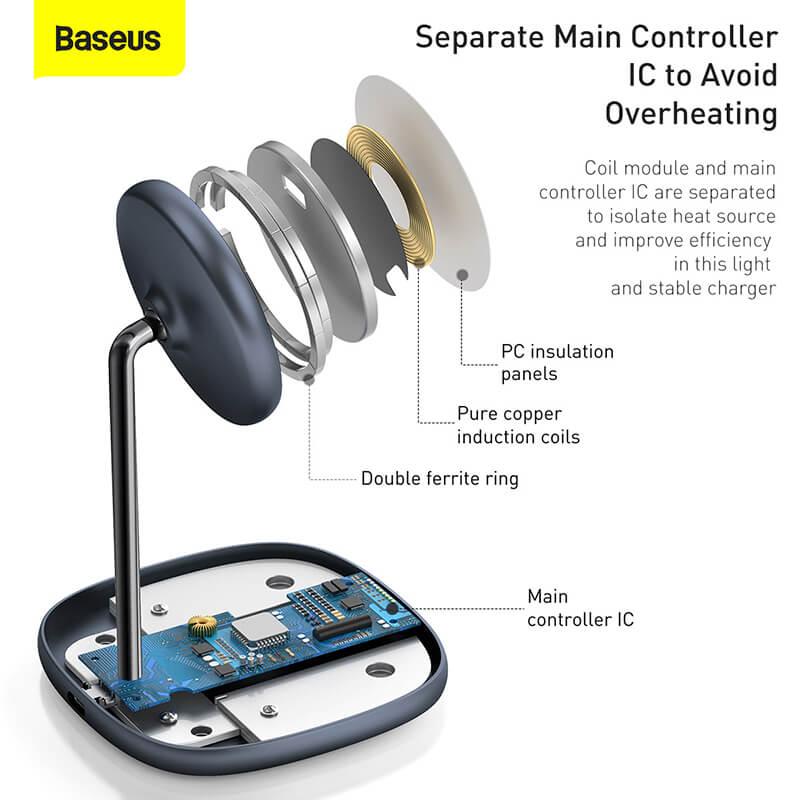 Baseus MagSafe mágneses állvány, Qi vezeték nélküli töltő iPhone 12 szériához 15W Swan - Fekete