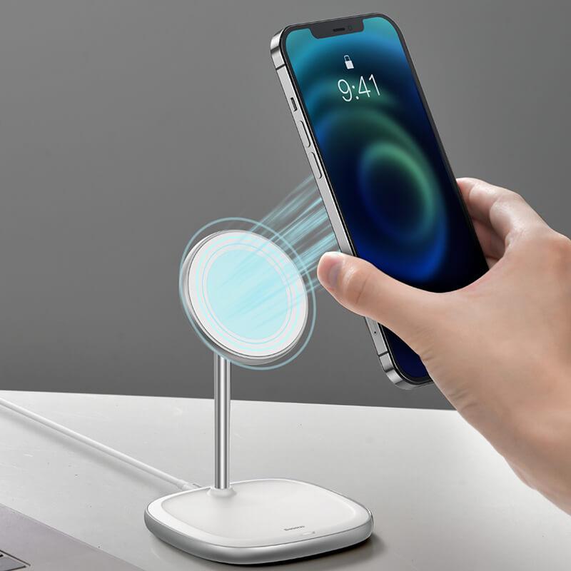 Baseus MagSafe mágneses állvány, Qi vezeték nélküli töltő iPhone 12 szériához 15W Swan - Fehér