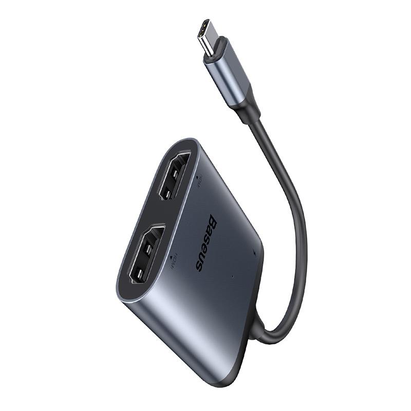 HUB átalakító adapter USB-C-ről 2x HDMI + USB-...