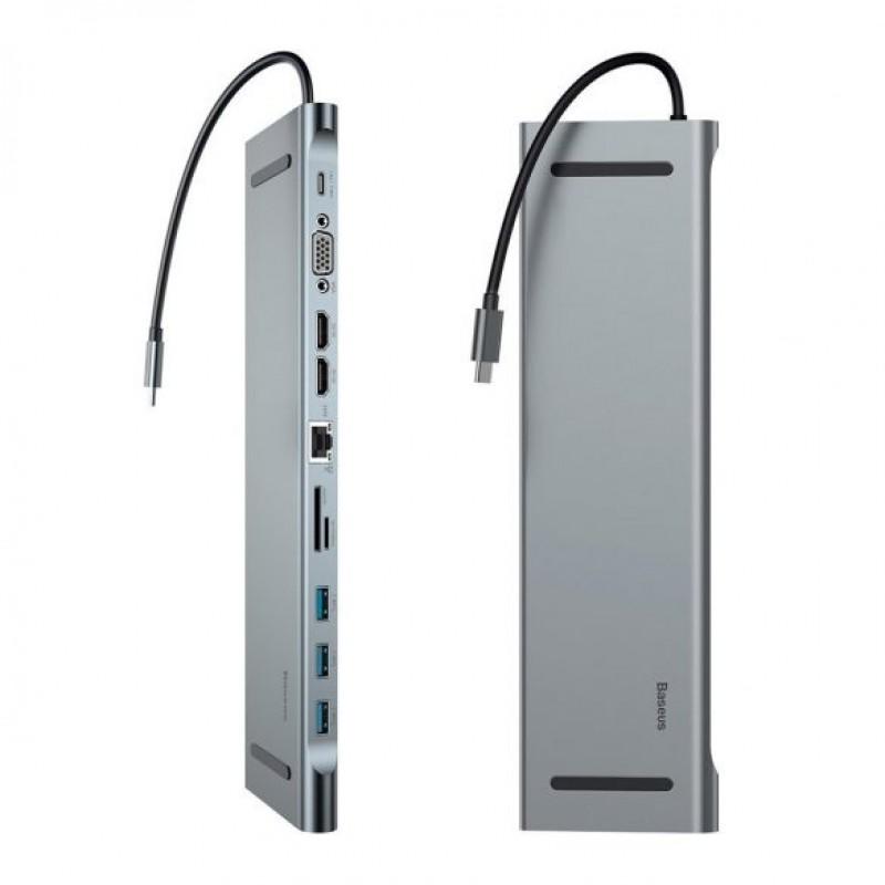 Enjoyment USB3.0 C típusú notebook HUB adapter PD/HD4K*2/VGA/RJ45/SD/TF/USB*3/ Baseus