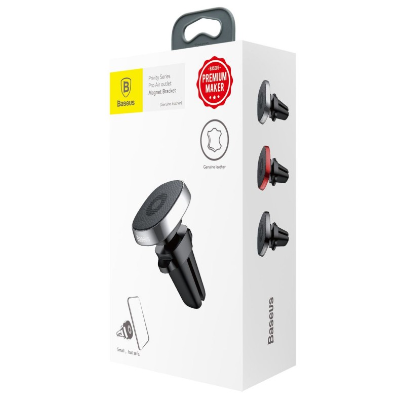 Privity valódi bőr mágneses autós telefontartó szellőzőrácsra Baseus - Fekete