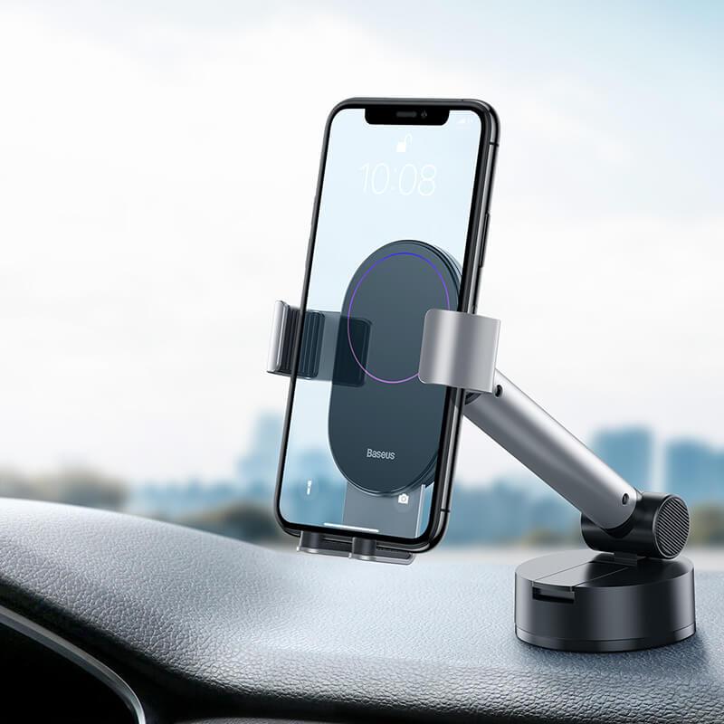 Simplism gavitációs telefontartó műszerfalra-szélvédőre Baseus - Ezüst