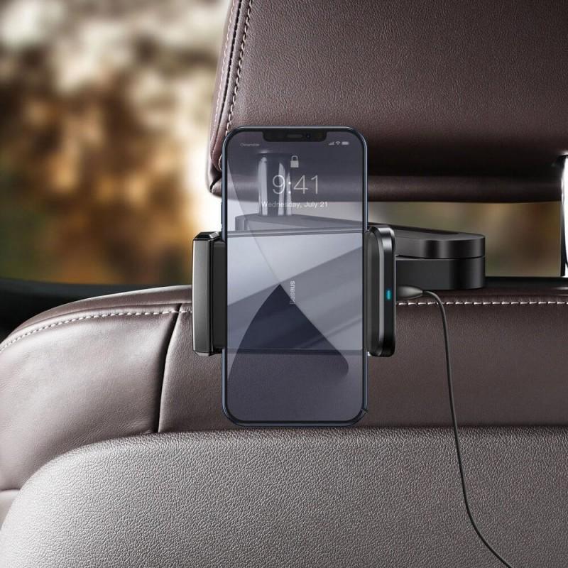 Fejtámlára rögzíthető telefontartó és vezeték nélküli Qi 15W gyorstöltő Energy Baseus - Fekete