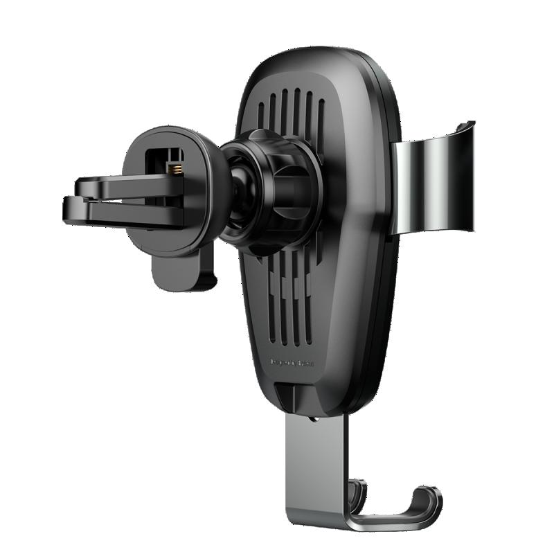 Metál Gravity autós töltő és tartó 2in1 gyorstöltéssel szellőzőrácsra (10W) Baseus - Fekete