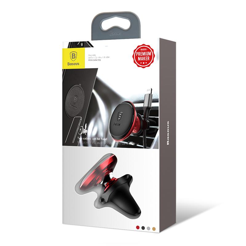 Air Vent univerzális mágneses autós telefontartó szellőzőrácsra Baseus - Fekete/Piros