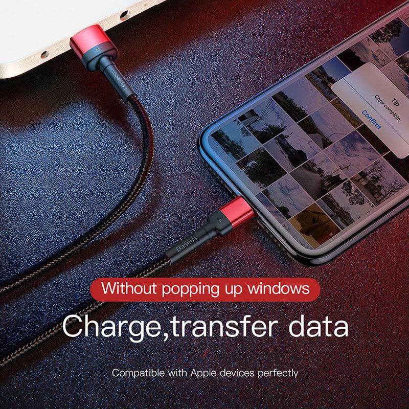 iPhone Lightning 8 tűs gyors adat/töltőkábel 2,4A-1m Baseus - Fekete/Piros