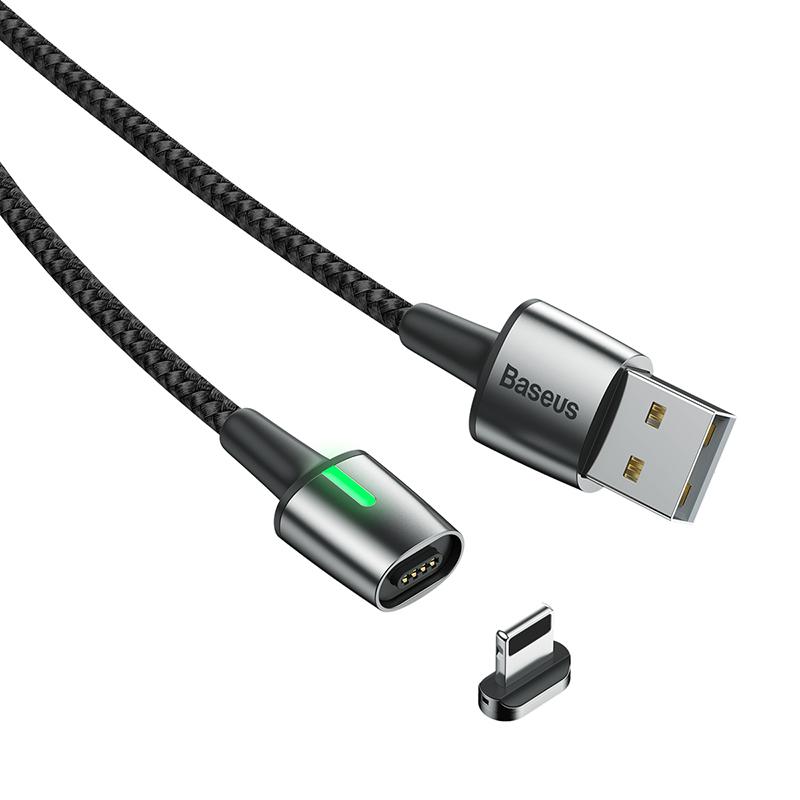 Zinc Lightning mágneses adat/töltőkábel 1m 2,4A Baseus
