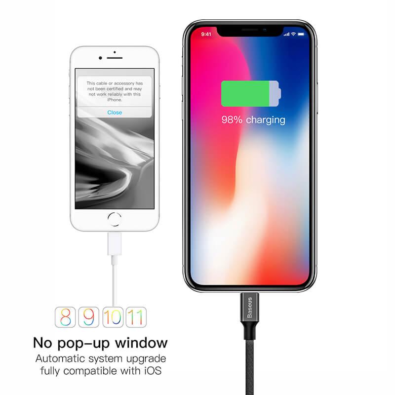 Baseus Yiven iPhone adat/töltő kábel 2A 1,8m - Fekete