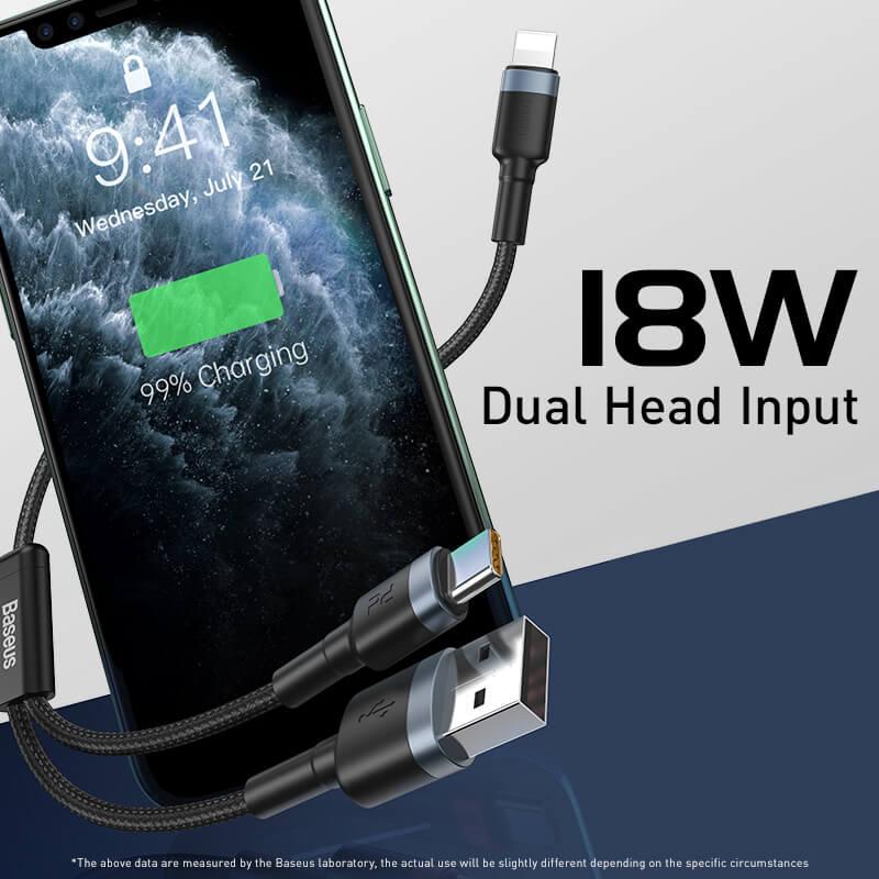 Baseus USB-C/Lightning PD 18W/2,4A adat/töltő kábel 1,2m - Fekete