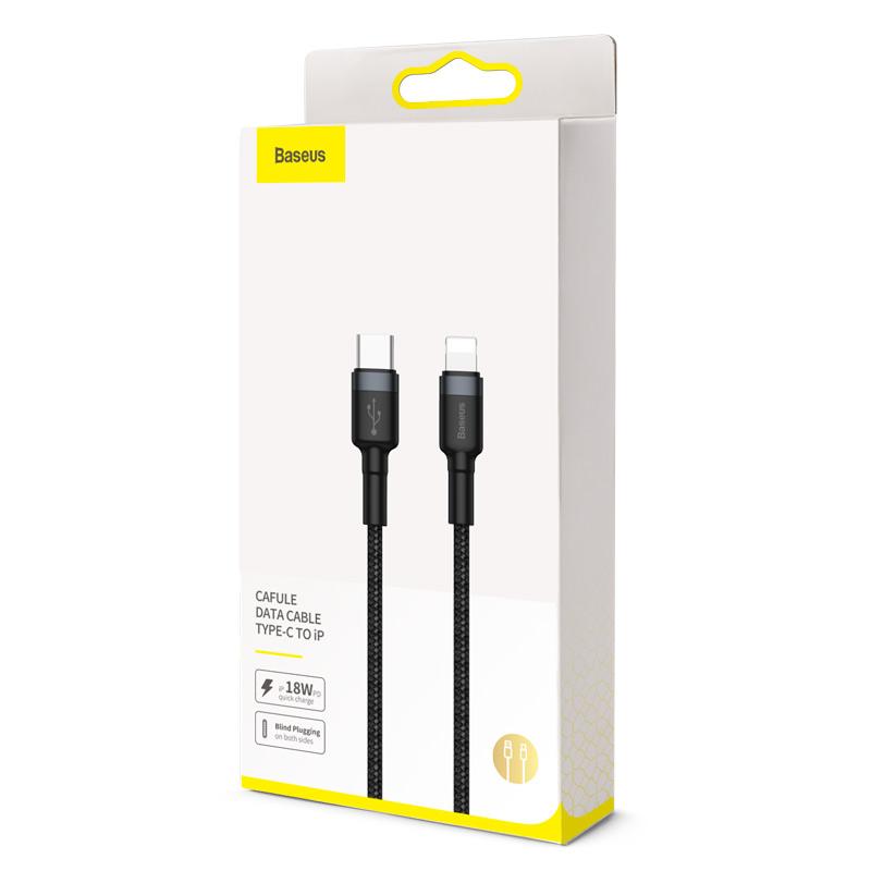 Baseus Type-C/iPhone PD adat/töltőkábel 18W 1m Cafule - Szürke/Fekete