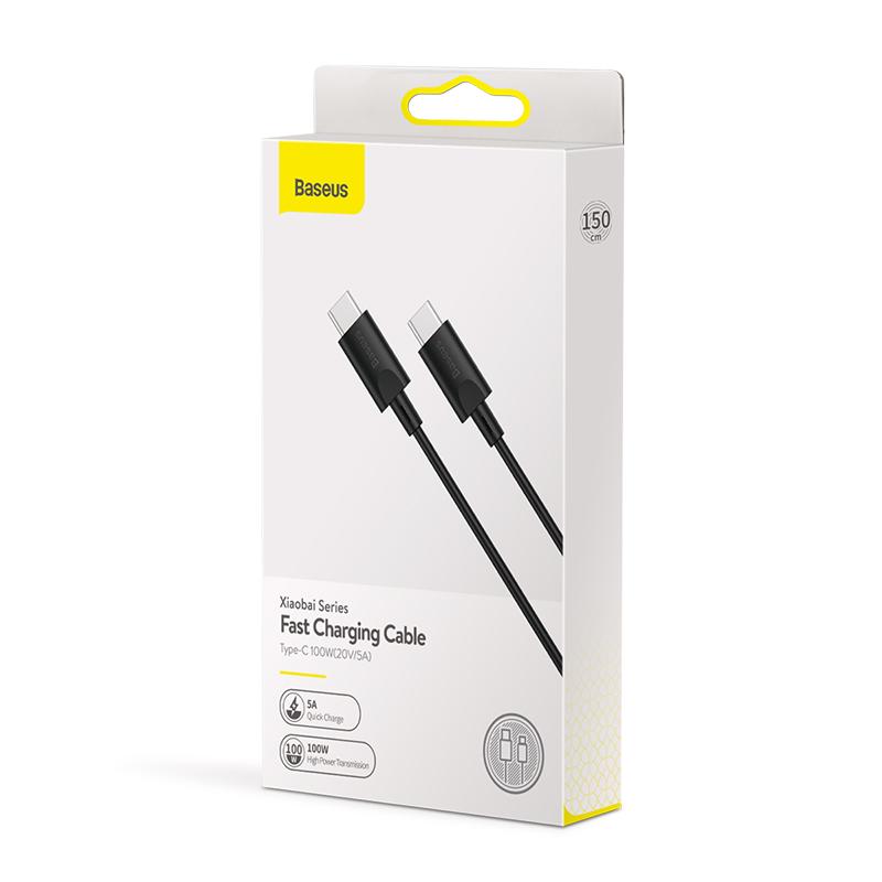 Xiaobai USB-C gyors töltő kábel 100W(20V/5A) 1.5m Baseus - Fekete
